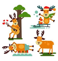 christmas cute reindeer santa claus character vector image