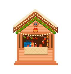 christmas wooden souvenir kiosk vector image vector image