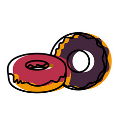 delicious donuts dessert vector image
