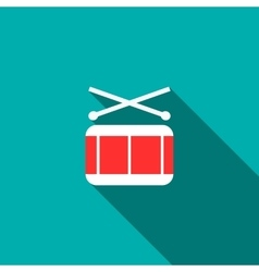 Drum and drumsticks icon flat style vector