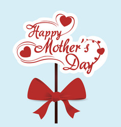 Happy mothers day typoghaphical red bow vector