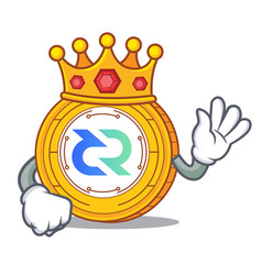 King decred coin mascot cartoon vector