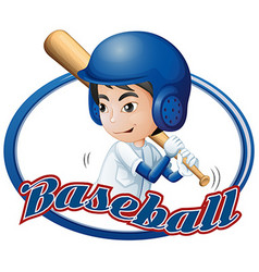 Label design with boy playing baseball vector