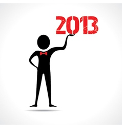 Man holding 2013 text vector image
