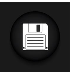 Modern diskette black circle icon vector