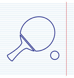 Ping pong paddle with ball navy line icon vector