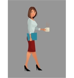 Pretty woman office work standing cup coffee vector