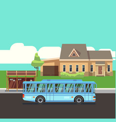 residential house with bus stop and blue bus flat vector image vector image