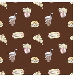 Seamless of fast food cat vector image vector image
