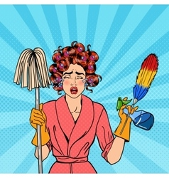 Stressed Housewife with Mop Pop Art vector image