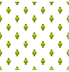 Sweet candy in green wrap pattern vector