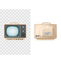 vintage tv set front rear vector image
