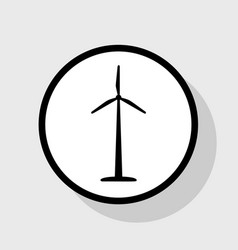 Wind turbine logo or sign flat black icon vector