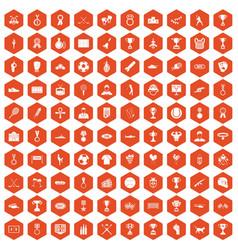 100 medal icons hexagon orange vector