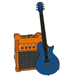 Blue electric guitar and the combo vector image