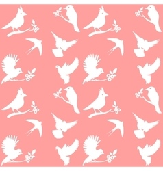 Collection of Bird Silhouettes on a pink vector image