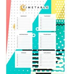 Planner calendar schedule the week abstract design vector