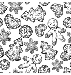 Gingerbread christmas cookies seamless pattern vector