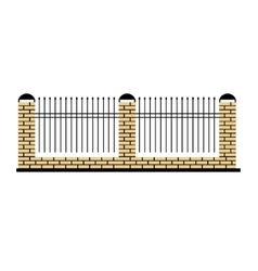 Stone fence design element template with metal vector