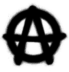 Graffiti anarchy icon sprayed in black on white vector