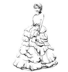 Fashion models in the dress sketch vector