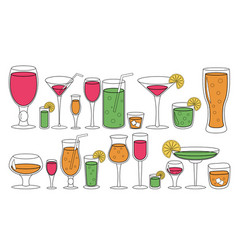 Set of glasses with liquid drinks cocktails vector