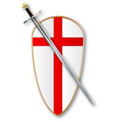 Crusaders shield and sword vector