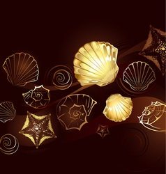 gold seashells vector image