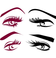 Beautiful girls eyes set vector