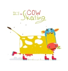 Colorful fun cartoon roller skating cow wearing vector