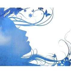 Abstract young girl face silhouette in profile vector