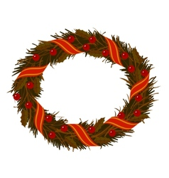 christmas dry holly wreath vector image