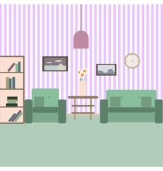 Living room with furniture vektor flat style vector
