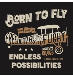 Vintage airplane lettering for printing vector