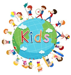 Children doing things around the world vector