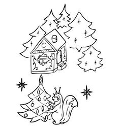 Squirrel dress up christmas tree vector