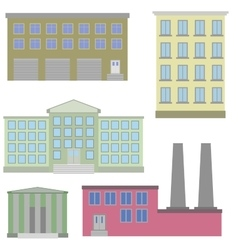 Flat icon set of colorful houses vector