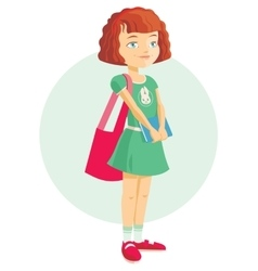 Pupil girl with school backpack vector