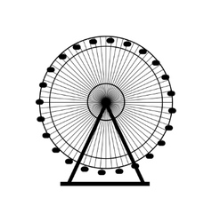 Ferris wheel silhouette circle carnival funfair vector