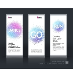 Set of modern roll up banner vertical stand vector