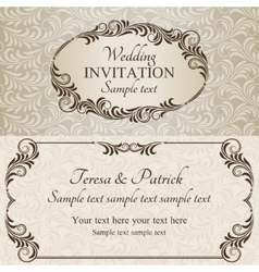 Baroque wedding invitation brown vector