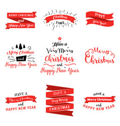 big set of merry christmas and happy new year vector image