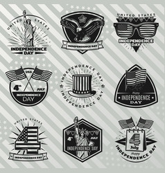 Black vintage independence day labels set vector