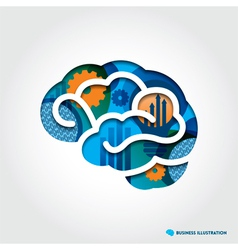 Brain with Business Concept vector image vector image