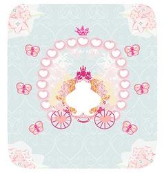 Carriage- vintage floral wedding invitation vector
