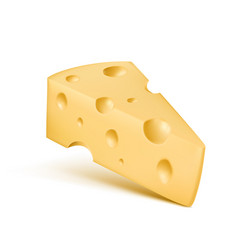 cheese 3d realistic icon of trinagle piece vector image vector image