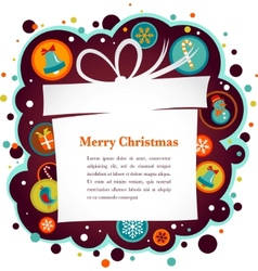 christmas background with gift box and cute icons vector image vector image