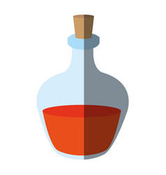 Cosmetic glass bottle with cork icon image vector