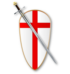 crusaders shield and sword vector image vector image