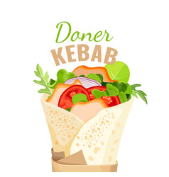 Delicious doner kebab full of vegetables and vector
